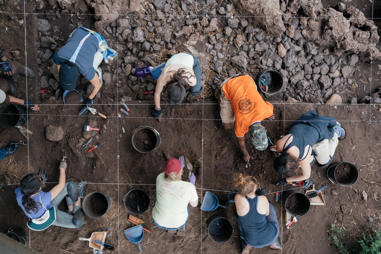 """Students work with staff at an archaeological site in South Africa as part of the course """"Experiencing Human Origins and Evolution."""" The course was taught by professors Jeremy DeSilva and Nathaniel Dominy, and involved coursework on campus during the fall term 2016 followed by two weeks at archaeological sites in South Africa."""
