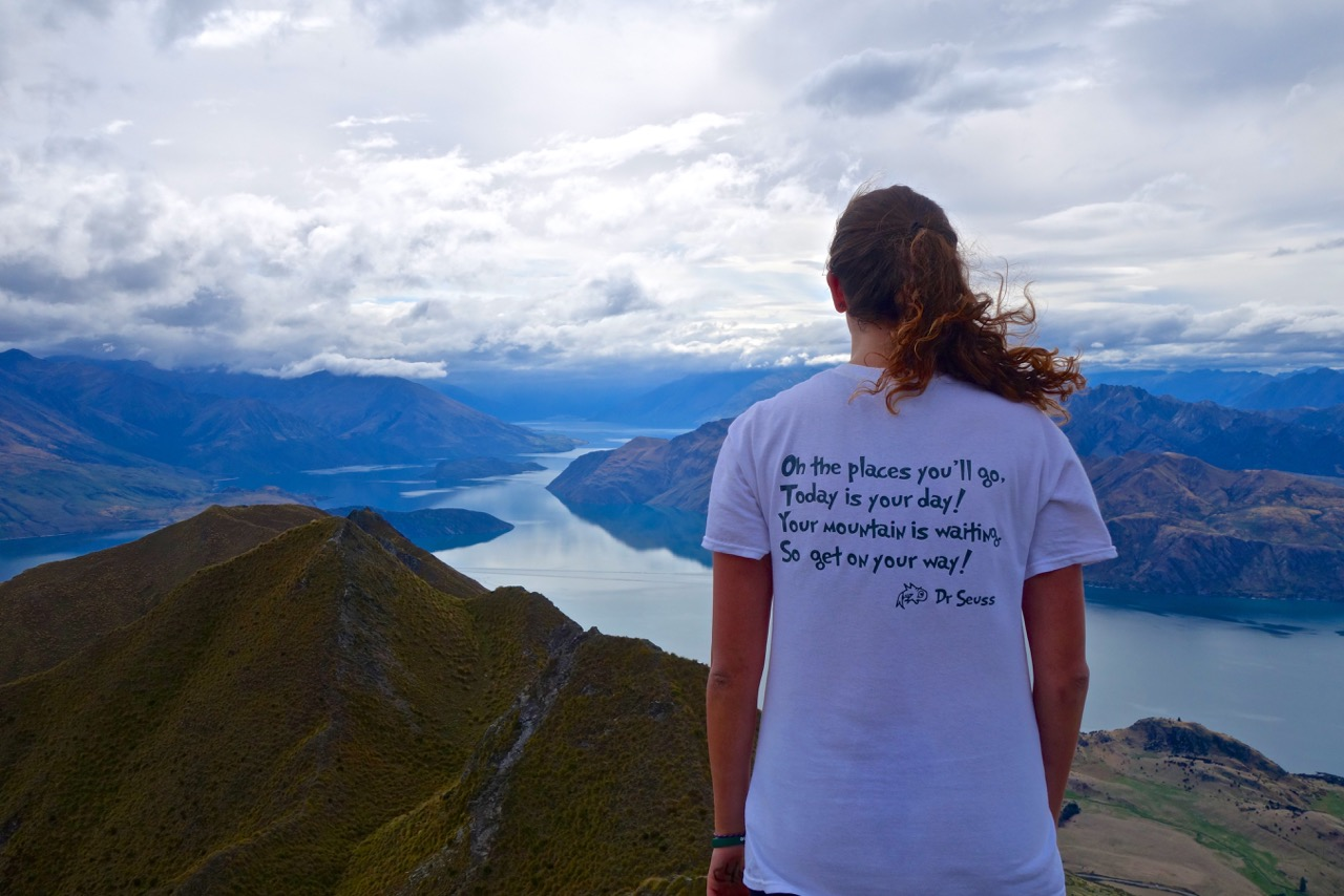 Sarah Salzman '18 on the summit of Roy's Peak in New Zealand while on a winter 2016 anthropology and linguistics foreign study program. The photo was taken by a fellow student, Laura Hayes '16.